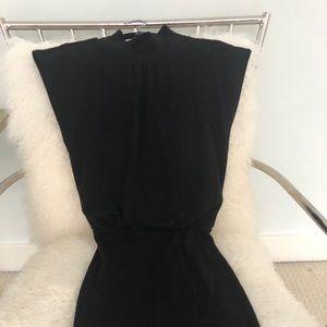 Alice+Olivia high neck black wool midi knit dress
